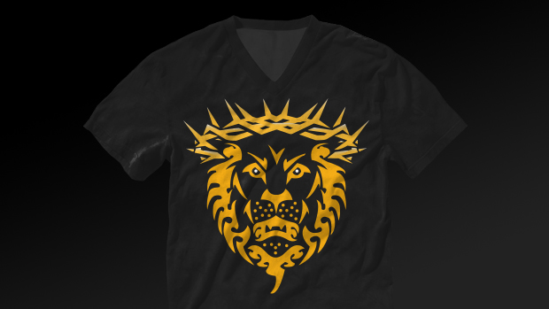 online retailer ff3f8 d2632 This t-shirt was inspired from Lebron James. Lebron uses a very signature  logo similar to this representing that the lion is king.